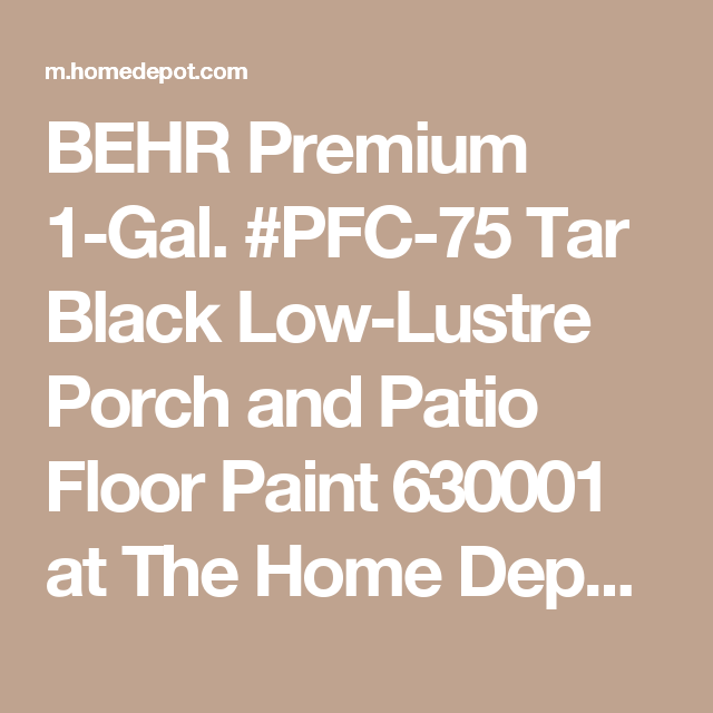 BEHR Premium 1 Gal. #PFC 75 Tar Black Low Lustre Porch And Patio Floor Paint