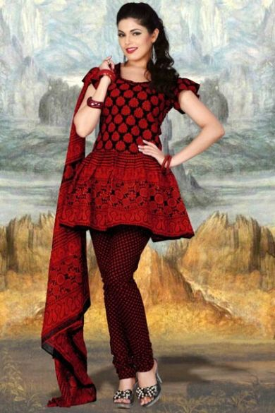 Black and Venetian Red Cotton Printed Casual and Party Anarkali Kameez Sku Code:372-4325SL281369 $ 40.00