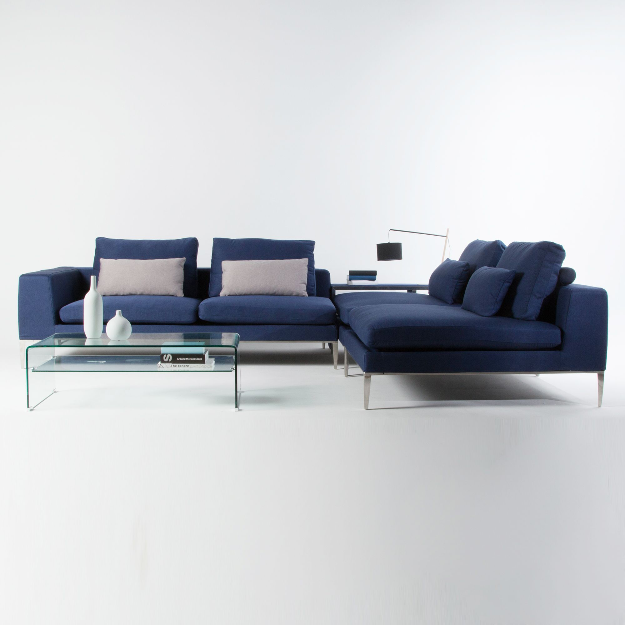 Canapé d angle modulable tissu bleu 4 places avec pieds métal