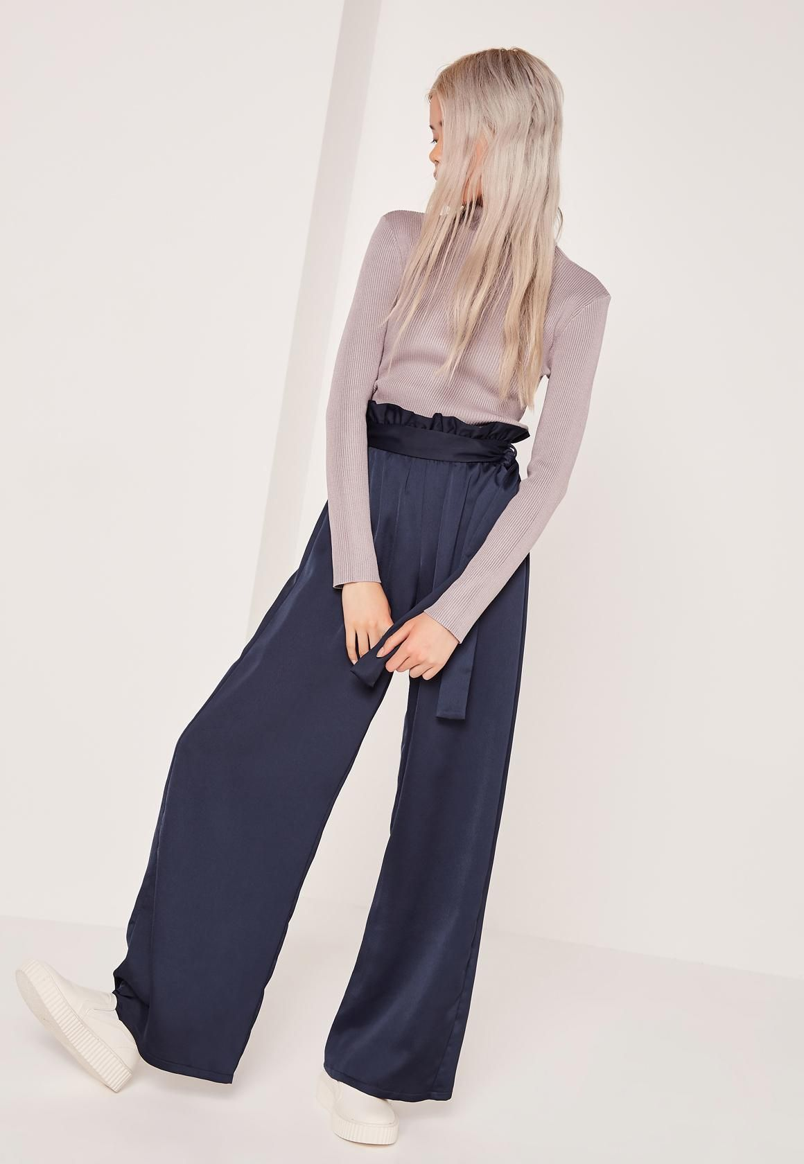 56a2f95fb42526 Missguided - Petite Navy Paper Bag Waist Wide Leg Pants