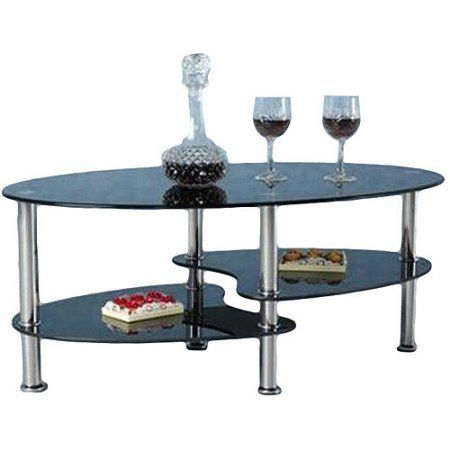 Hodedah Oval Glass 3 Tier Coffee Table Multiple Colors Black Products 3 Tier Coffee Table Table Modern Coffee Tables
