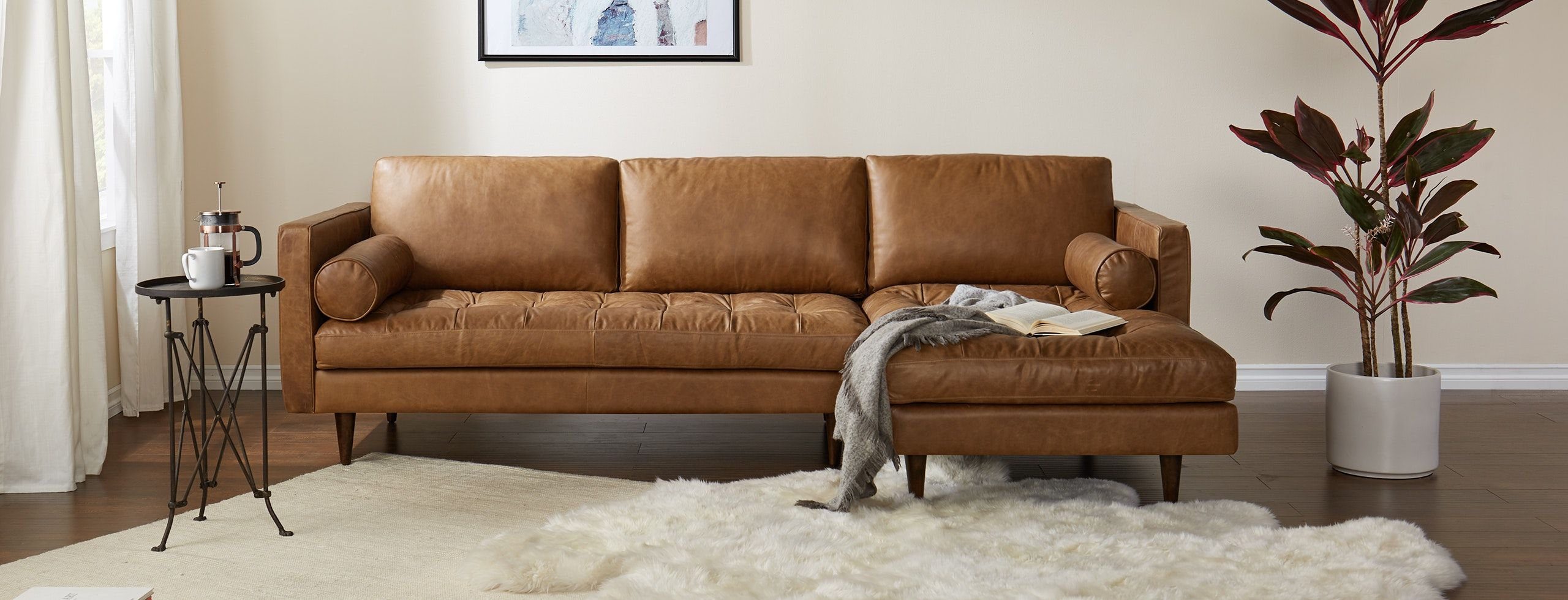 Indulge In Your Love Of Mid Century Modern With A Cozy Leather Chaise Sectional That Boasts But Modern Leather Sectional Leather Sectional Sectional Sofa Couch