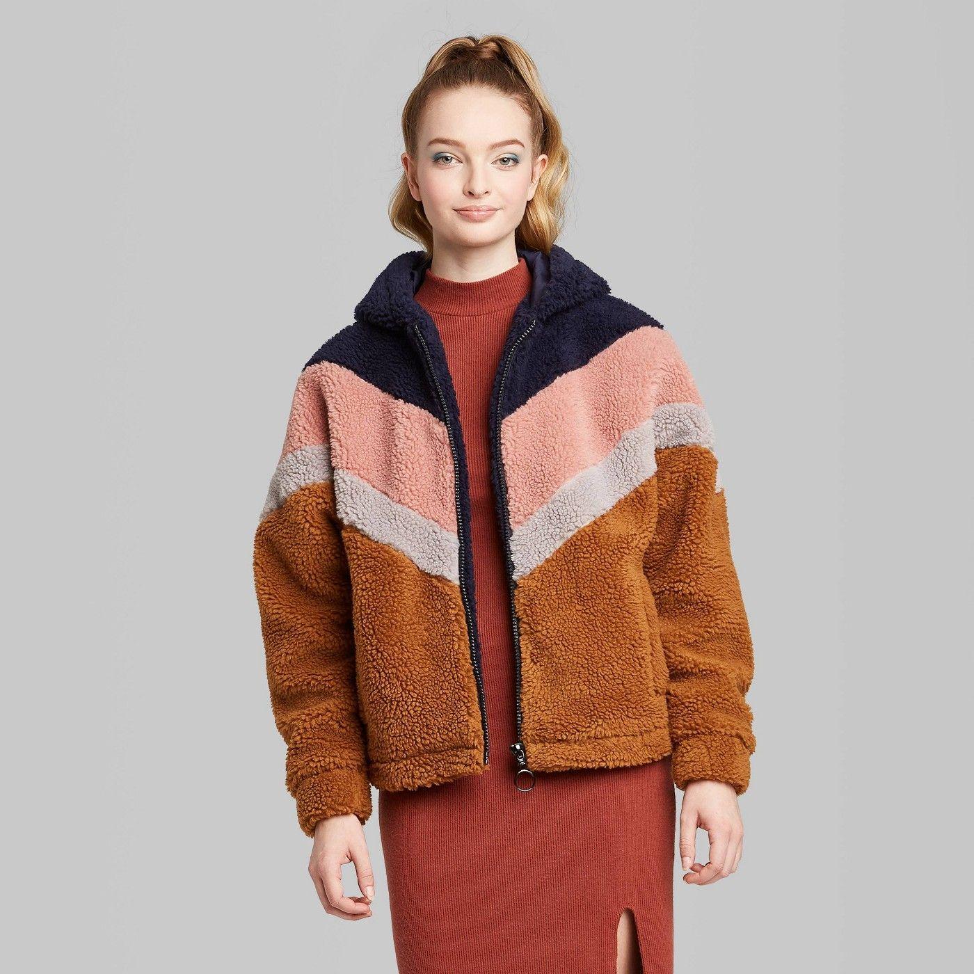 Women's Long Sleeve ZipUp Colorblocked Hooded Sherpa