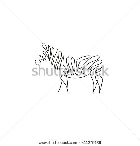 One Line Zebra Design Silhouette Hand Drawn Minimalism Style Vector