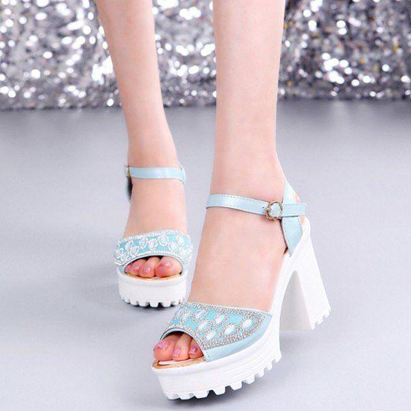 Bead Crystal Buckle Korean Style Peep Toe Chunky Heel Platform Sandals