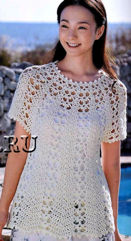 La túnica chiné blanca   blusas   Pinterest   Blusas, Ganchillo y Tejido