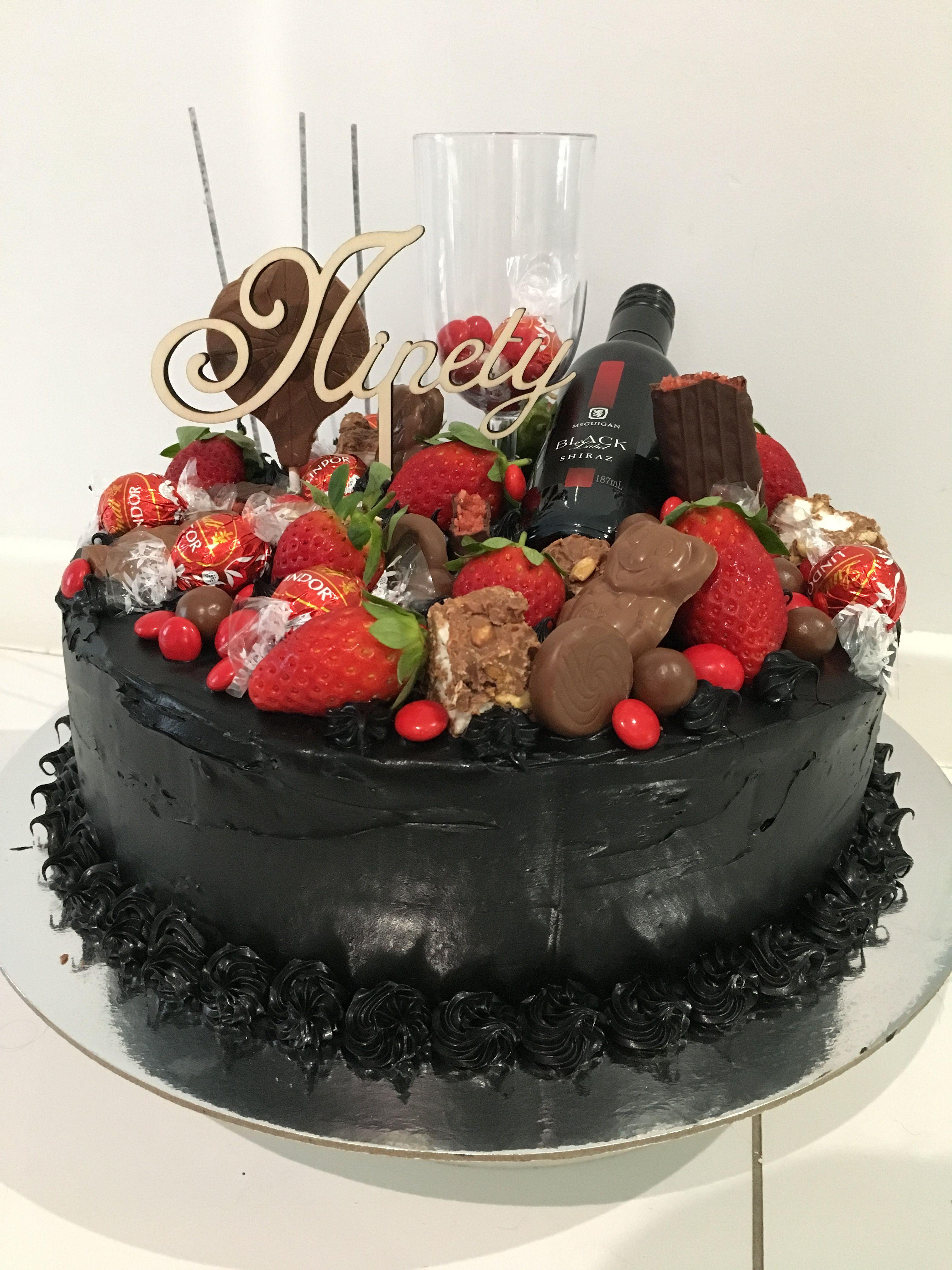 Red and black cake 90th Birthday cake Chocolate mud cake covered