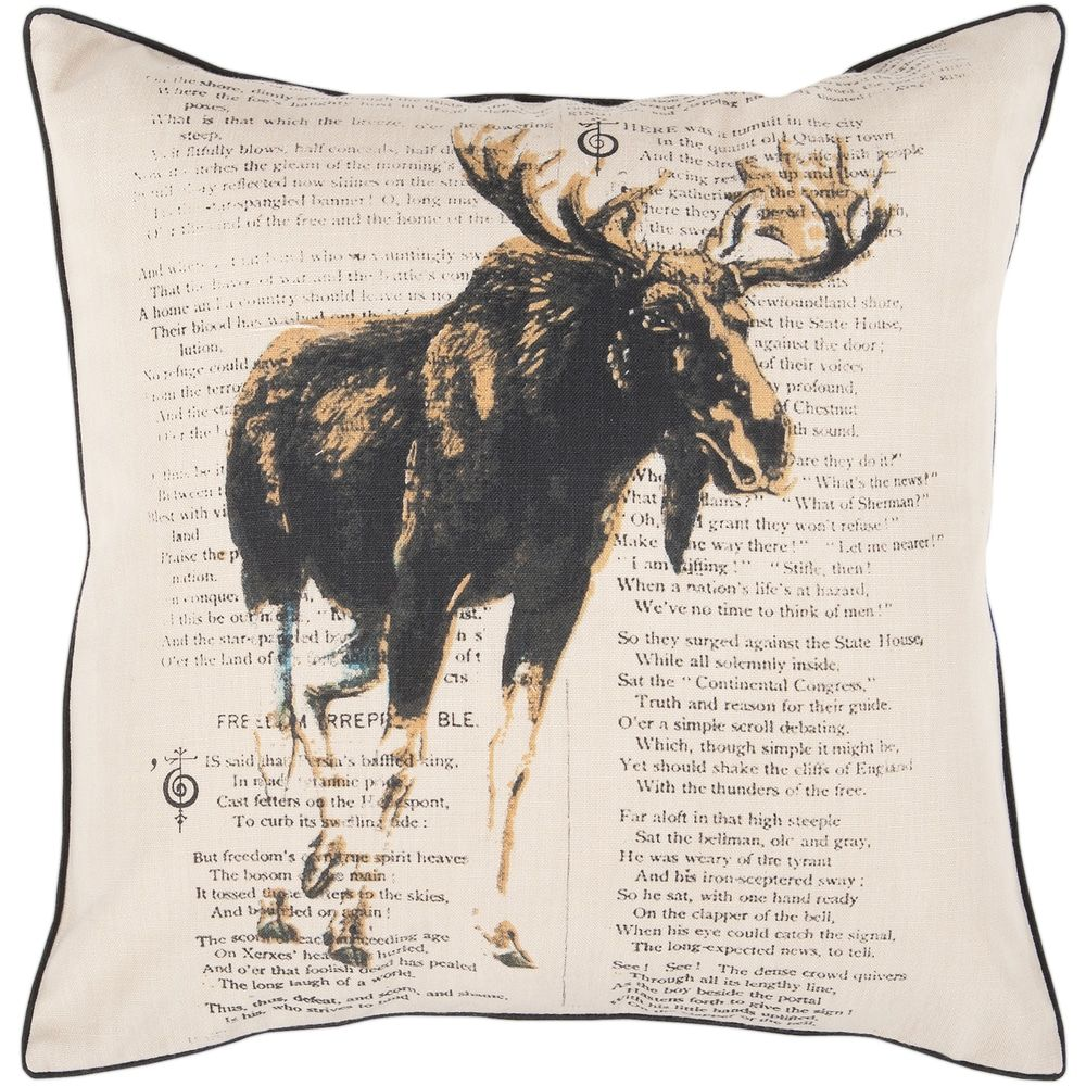 22-inch Moose Decorative Throw Pillow (Moose), Tan(Polyester, Nature)