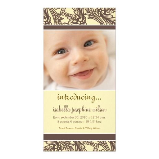 Ornate Floral (Brown/Yellow) Birth Announcement Picture Card #babyannouncements #birthannouncements