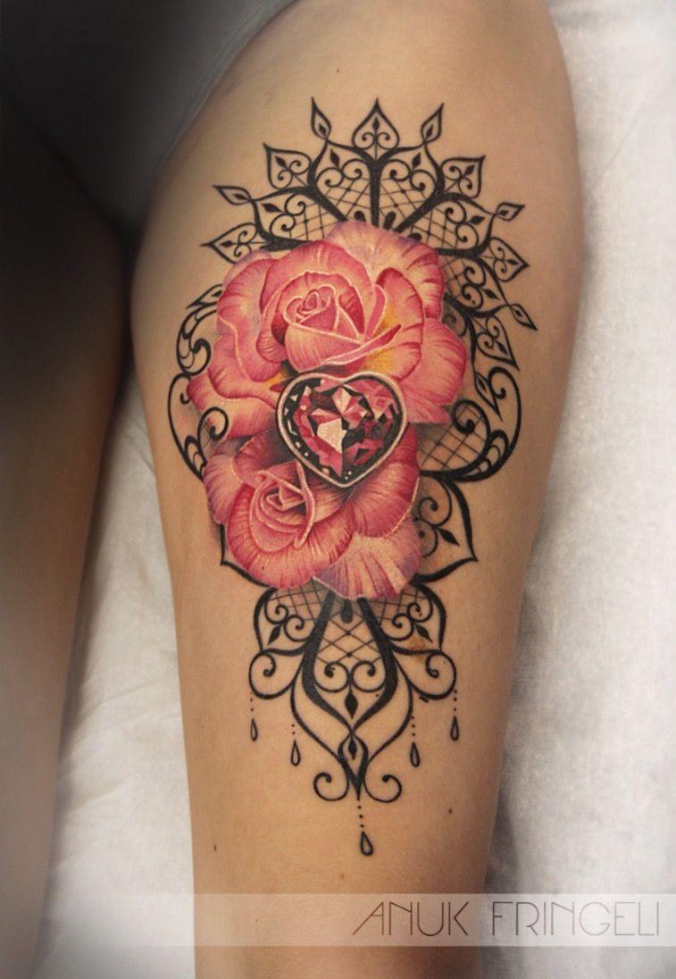 9740b6a36faa9 #Tattoo # ink #rose #flower #pink #gem #kristall #amulett #lace #mehndi # ornament #beauty #girl #pretty #cute #model #anukfringeli #anuk #fringeli  #swiss ...