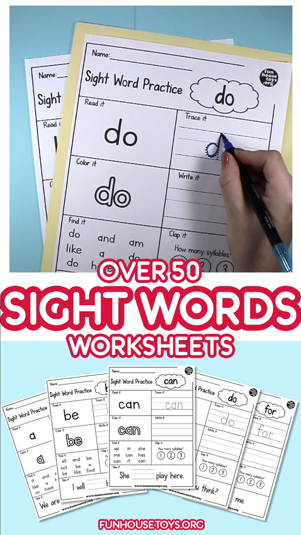 Photo of Over 50 Sight Words Worksheets for writing, tracing, and spelling
