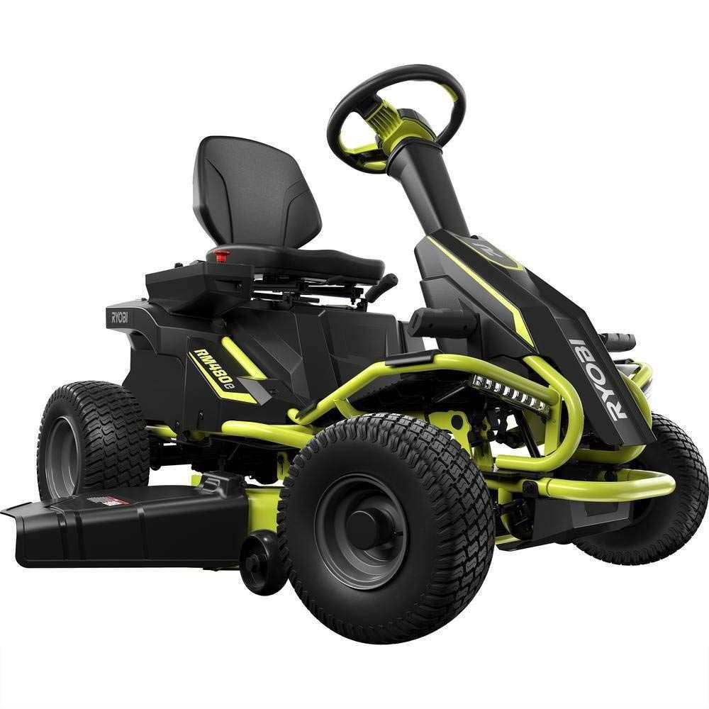 Best Riding Mowers 2021 Ryobi 38 in. 75 Ah Battery Electric Rear Engine Riding Lawn Mower