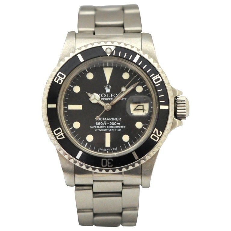 Rolex Stainless Steel Submariner Oyster Perpetual Wristwatch, Circa 1977 #stainlesssteelrolex