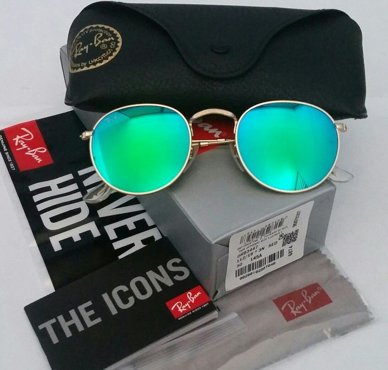 173b9c65a9 4th of July Sale! Authentic Ray-Ban Round Green Lens   Gold Frame ...