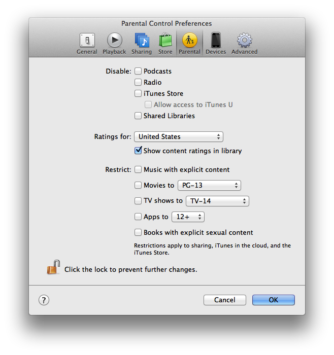 iTunes 11 parental controls | Apple Parental Controls | Mac
