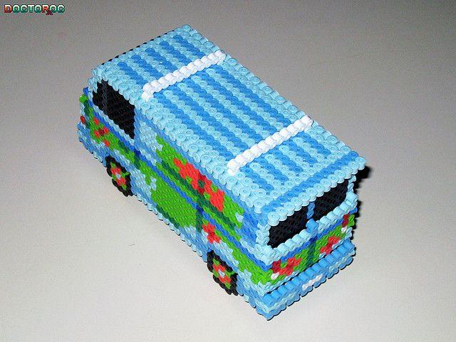 Mystery Machine 3-D Bead Sprite (Back)   Perler Beads   Diy ... on scooby doo ruh-roh, scooby doo the mystery car, scooby doo adventures,
