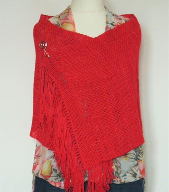 newest 66e30 4976e Stole/wrap red coral cotton fabric to frame | De mi tierra ...