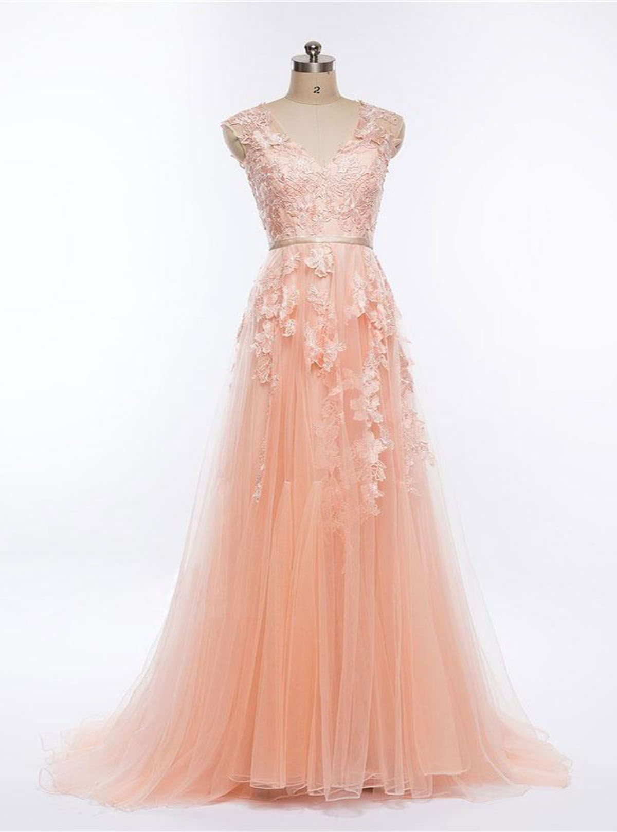 Pretty blush pink v neck long halter senior prom dress long