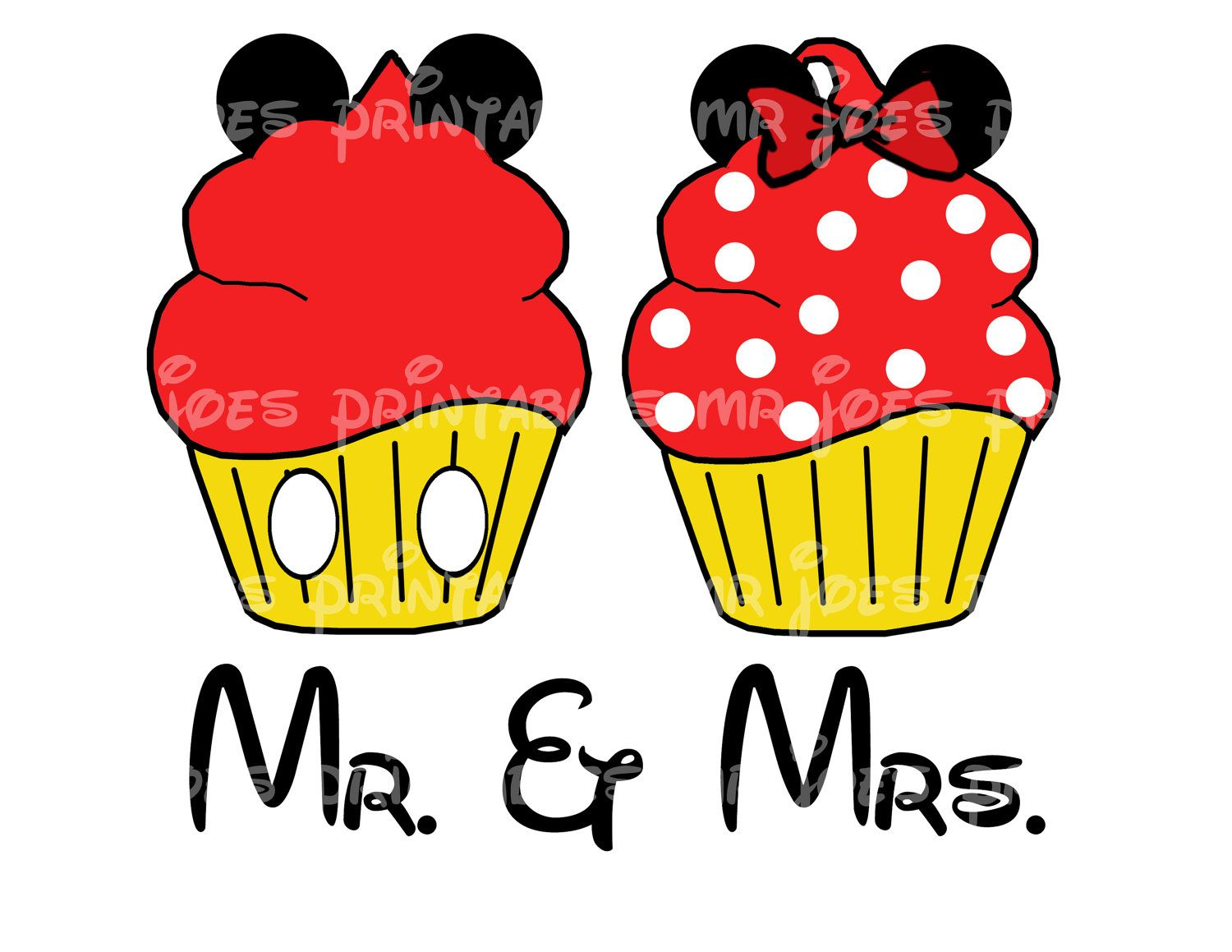 Mr Mrs Mickey Minnie Mouse Cupcake Printable Wedding His Her DIY ...