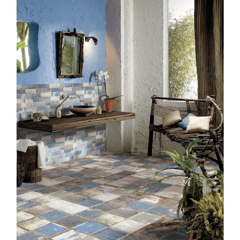 Floor & Decor San Juan Azul Porcelain Tile, 4 x 8, Blue