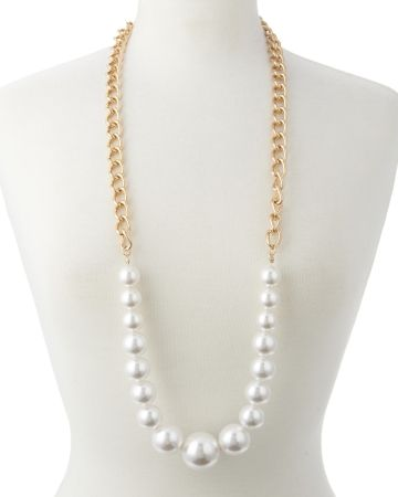 "Graduated Faux Pearl Chain Necklace - 39.5"", Alternate2 View"