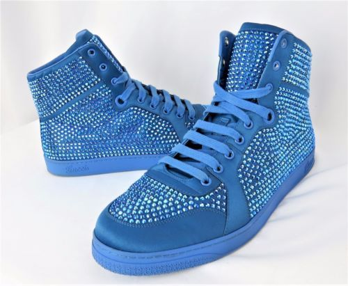 fed803bec521c0 Gucci-High-Top-Sneakers-Crystal-Studs-Powder-Blue-Satin-337450-Size-8G-9US- Shoes