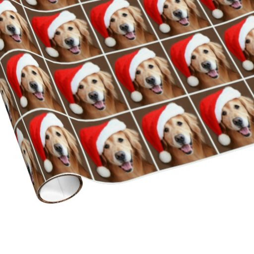 Golden Retriever Dog With Red Santa Hat Christmas Wrapping Paper