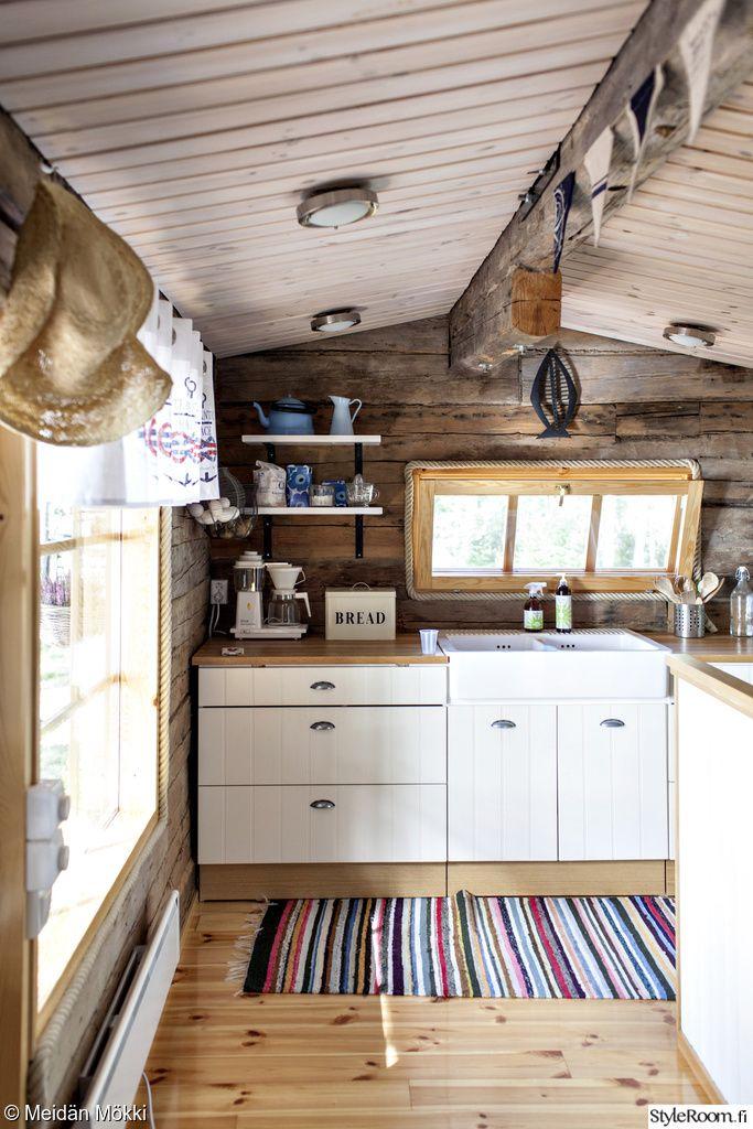 kelo,keittiö,kaapistot,lattia, katto, seinän väri  Mökki  Pinterest  Mökki