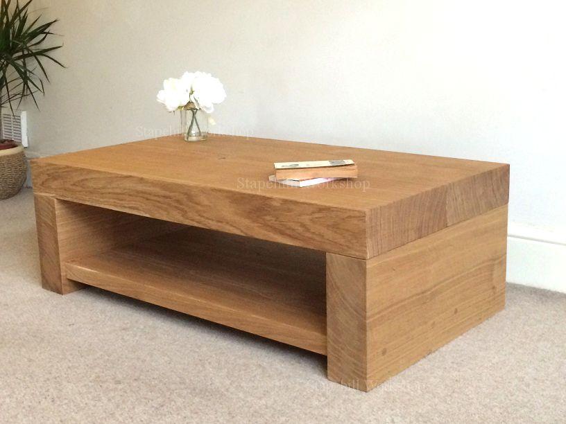 Durlston 100 Solid Thick Oak Coffee Table Large Rustic Chunky Muebles Muebles De Lujo Muebles De Esquina