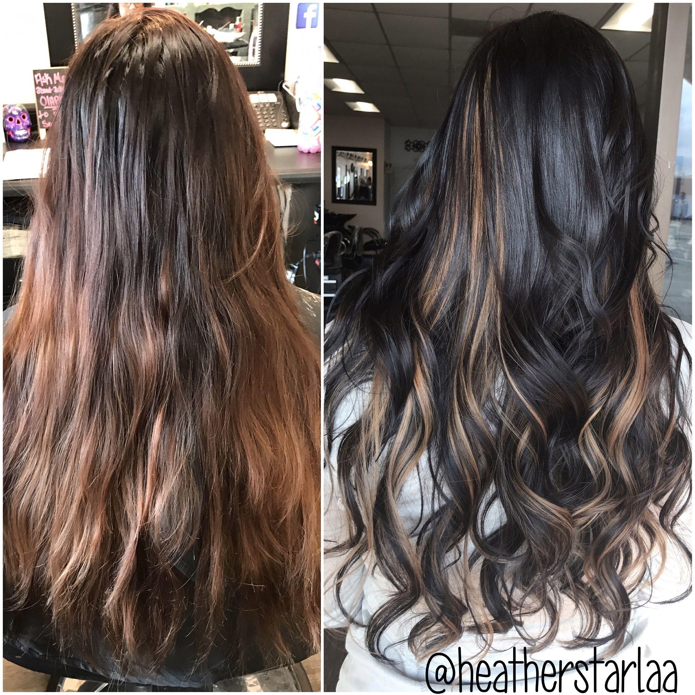 Dark Brown Hair Honey Carmel Peekaboo Highlights Long Hair Curled Hair Long Hair Styles Honey Hair Dark Hair With Highlights