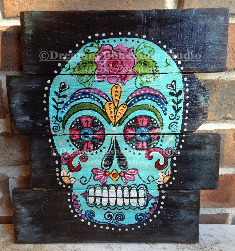 Sugar Skull Artwork, Wood Pallet Art, Hand Built Turquoise Dia De Los Muertos Mantle Decor, Bohemian Bedroom, Housewarming Gift, Halloween is part of Bohemian bedroom Turquoise - dreaminbohemian Thanks for stopping by! Adrienne