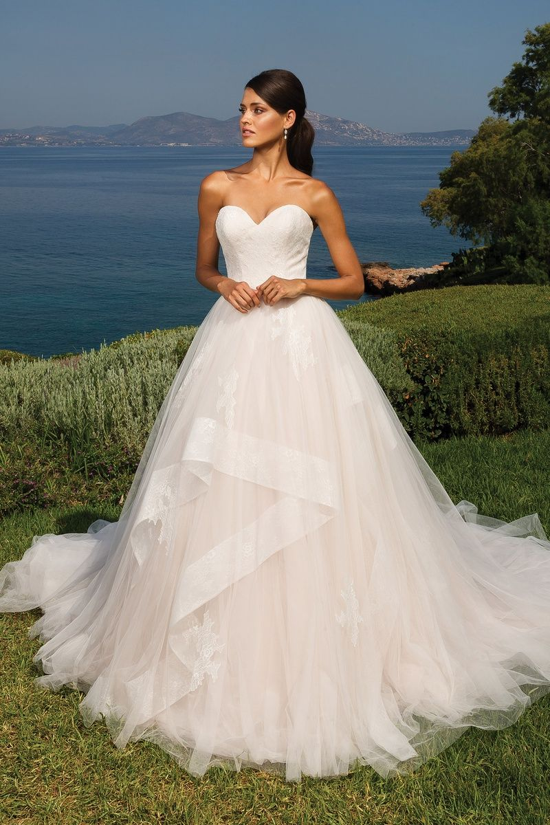 Justin Alexander Sweetheart Bodice With Tulle Ruffled Ball Gown