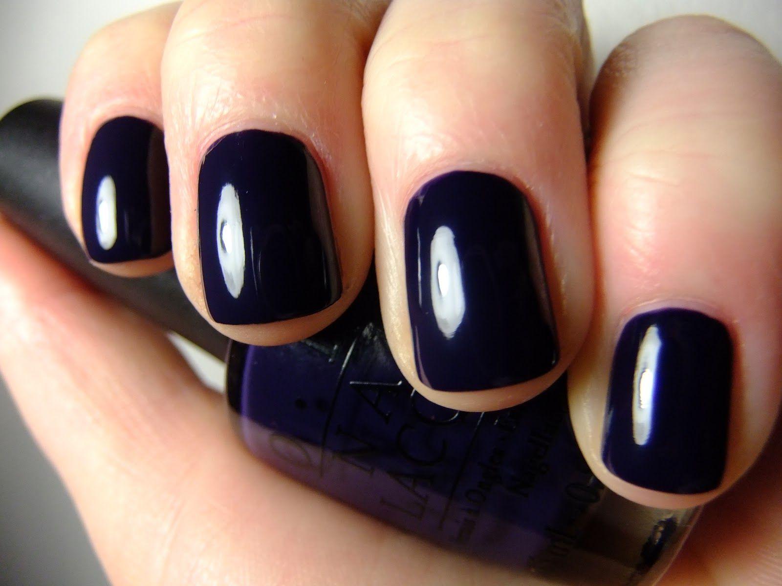 Dark Navy Blue Nail Polish Like Roadhouse Blues By Opi