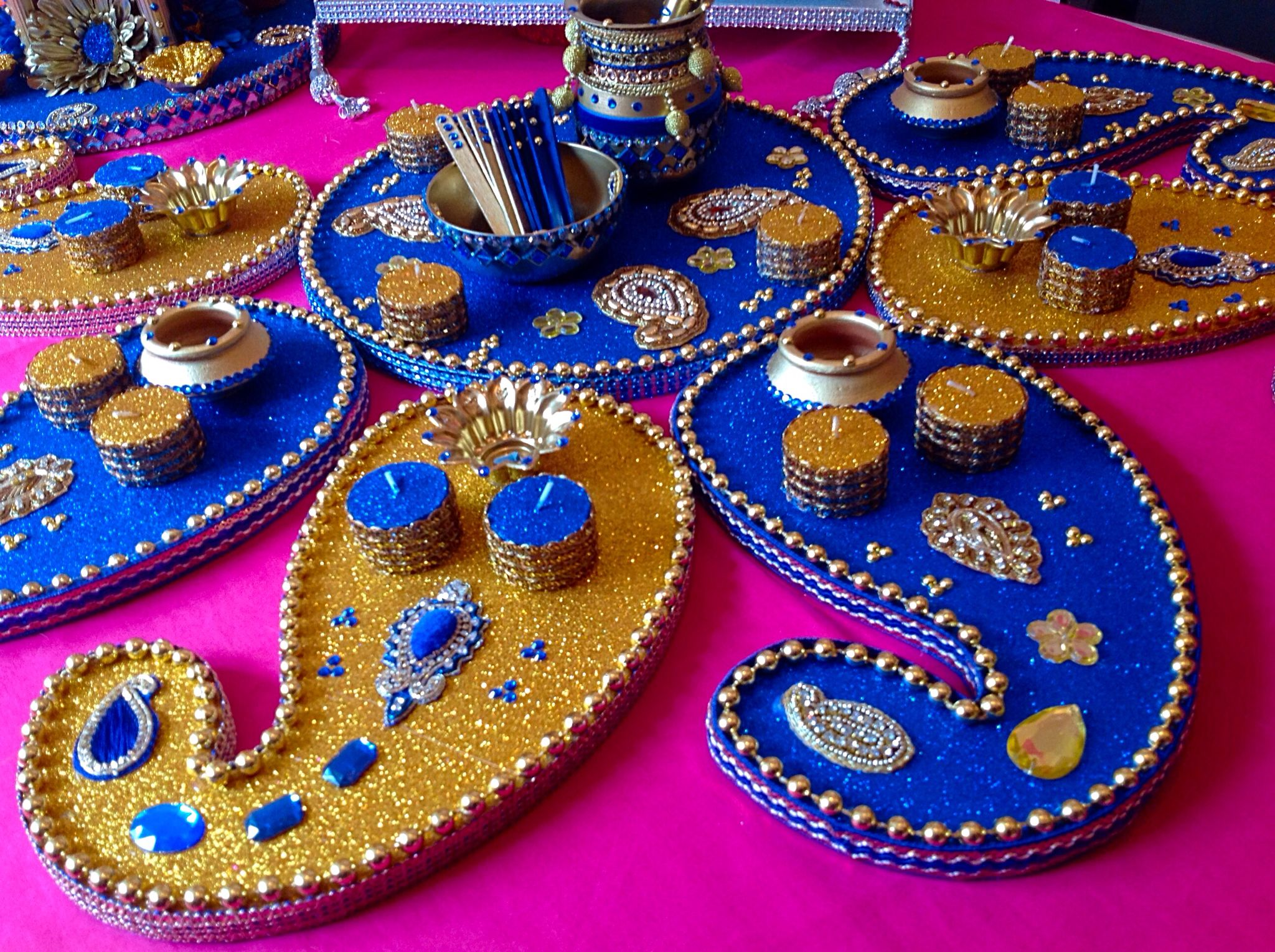 Mehndi Plates Uk : Royal blue and gold elegant mehndi plates. see www.facebook.com
