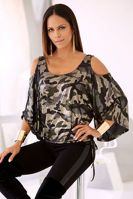 1537d933f278dd Metallic camo cold-shoulder top from Boston Proper