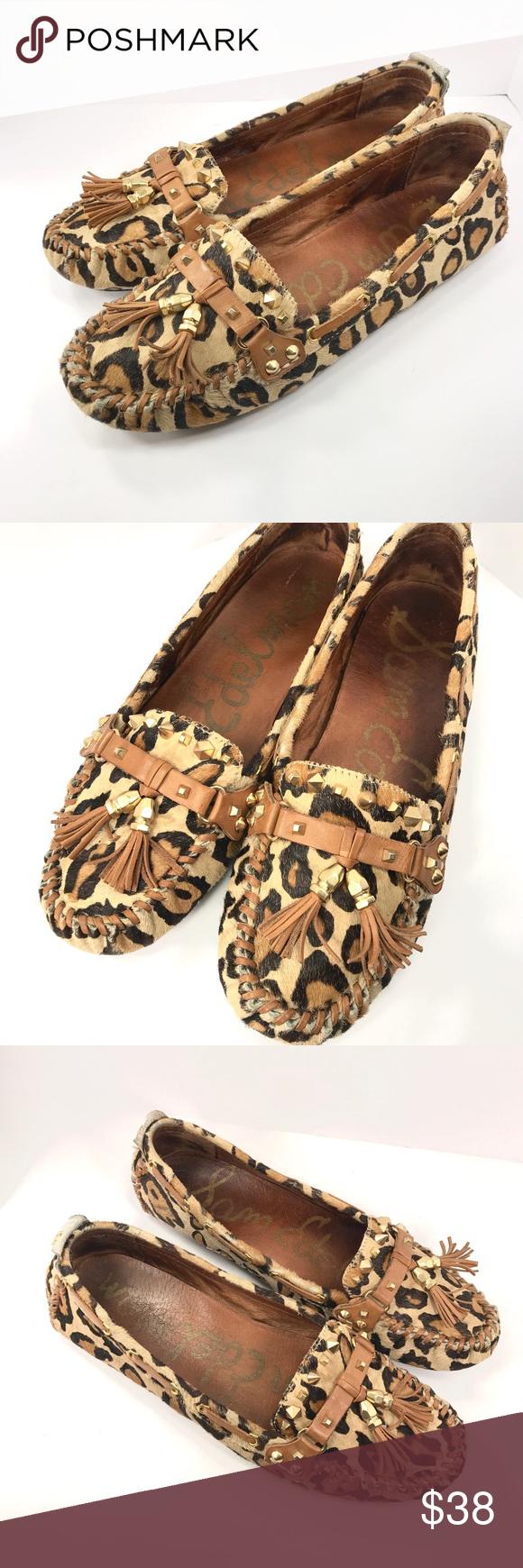 6dd70ebd1932 Sam Edelman Leopard Print Loafers Sam Edelman leather upper brahma hair leopard  print loafer shoes size