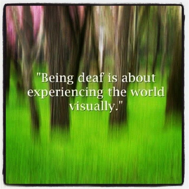 deaf is about experiencing the world visually.