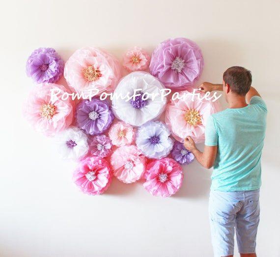 Oversized paper flowers 13 units!! Flower backdrop wall. Breathtaking centerpiece. Luxury wall decor. Breathtaking Centerpiece. Blush/Pink