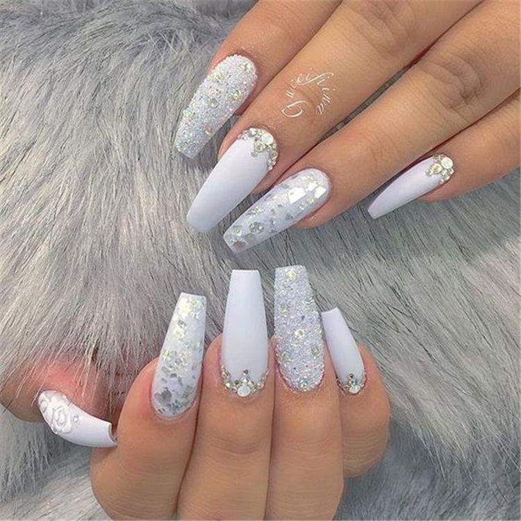 20 Elegant Long White Coffin Nail Ideas Sumcoco Silver Acrylic Nails White Coffin Nails Trendy Nails