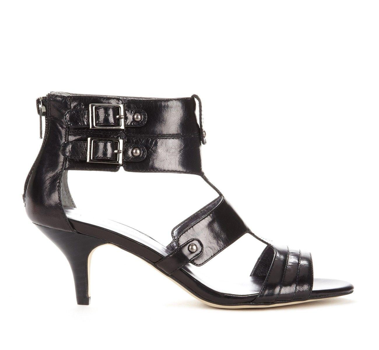 Black Leather Kitten Heel Kitten Heel Shoes Black Sandals Heels