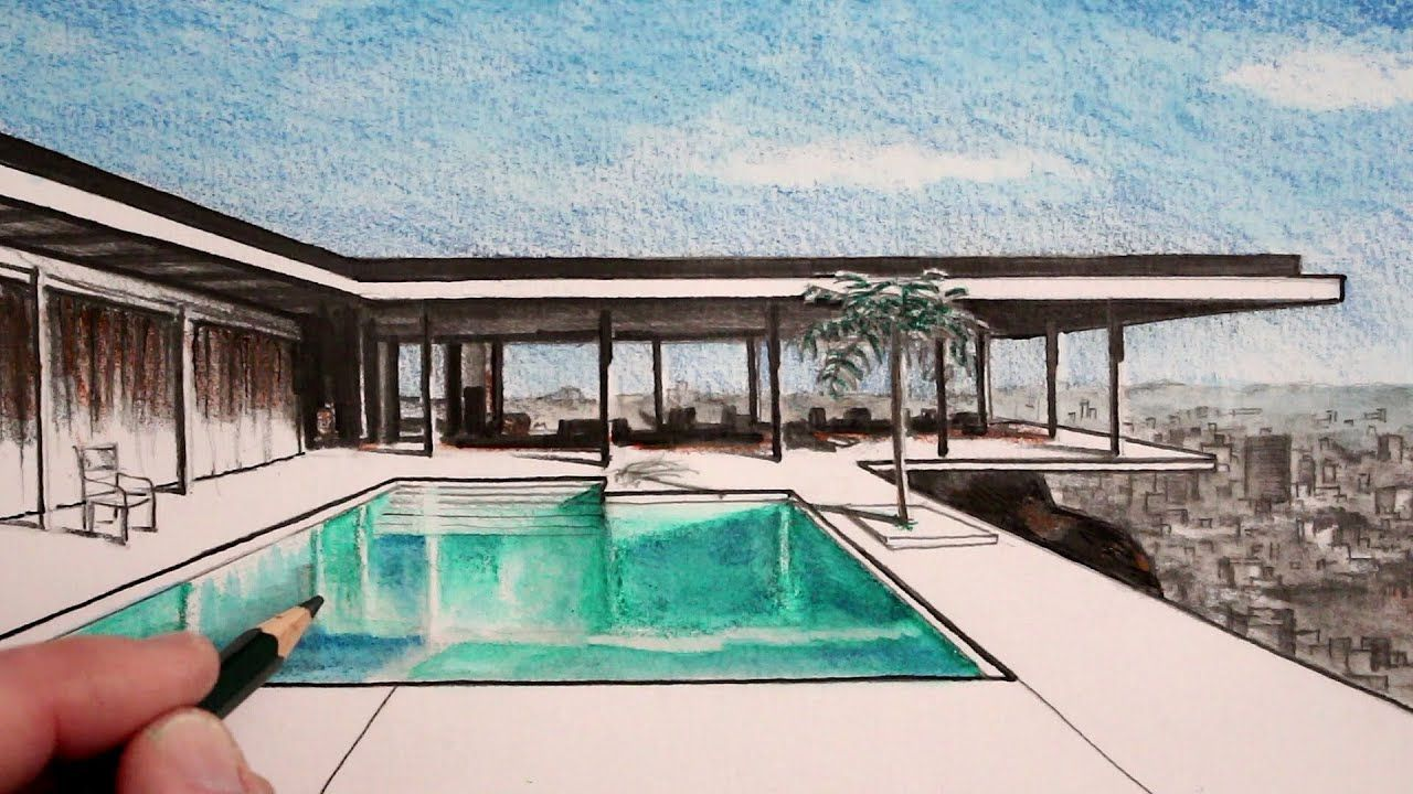 How To Draw A Modern House In One Point Perspective The Stahl House Video Pool Drawing Perspective Drawing Swimming Pool Drawing