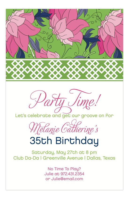 Hot Pink Lime China Floral Invitation From The Rosanne Beck Collection Adult Birthday Party Girl