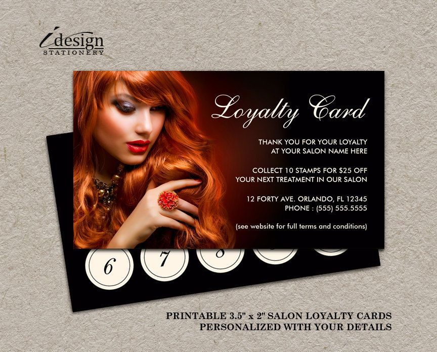 Hair Salon Loyalty Card Printable Hair Stylist Or Hairdresser - hair salon flyer template