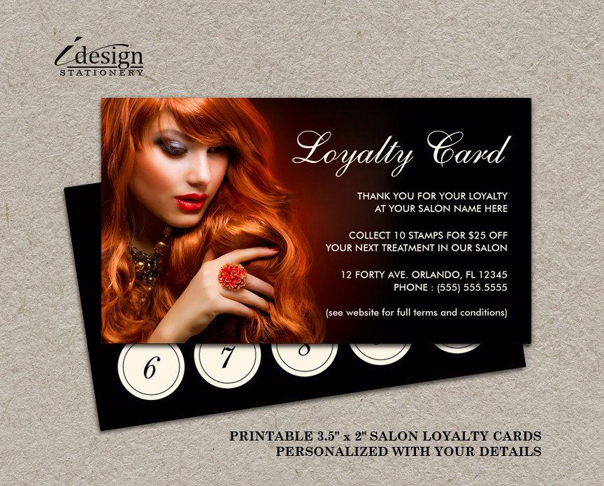 Hair Salon Loyalty Card Printable Hair Stylist Or Hairdresser - hair salon flyer template