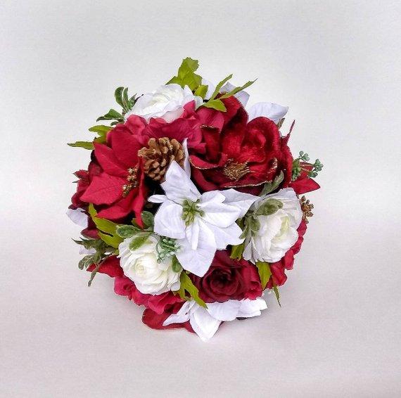 Wedding Flowers December: Winter Wedding Bouquet, Burgundy Poinsettia Bouquet