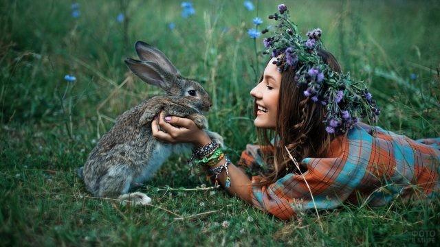 Девушки с цветами (42 фото)   Кролик, Цветы, Фотосессия