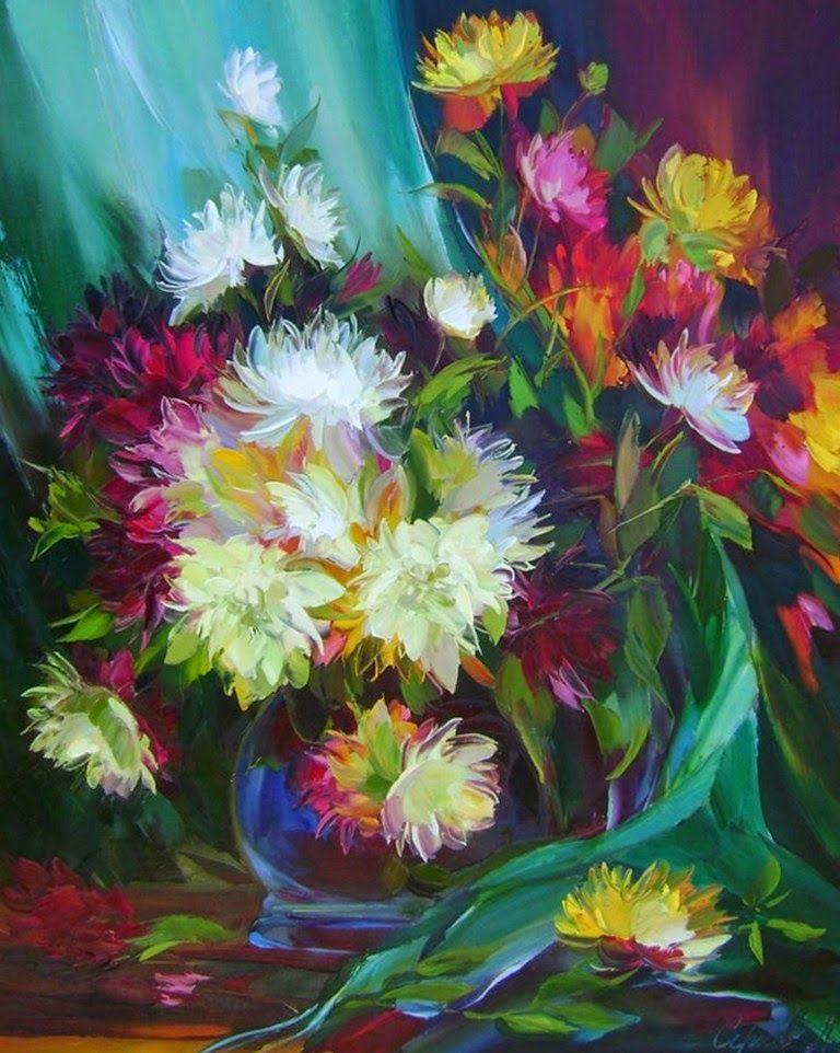 Pinturas Decorativas De Flores Modernas En Espatula Y Oleo Pinturas Modernas De Flores Flores Pintadas Arte Con Flores