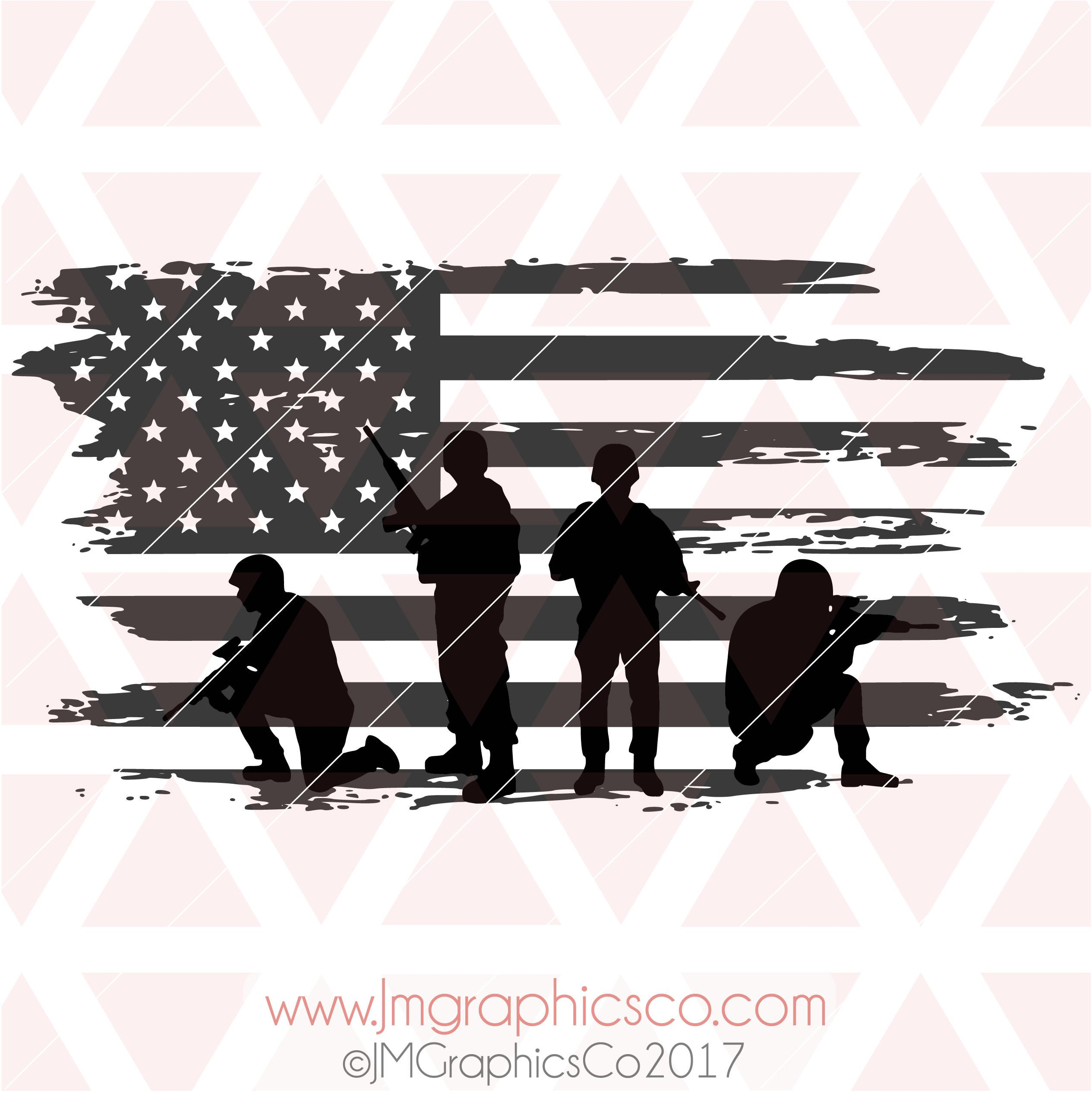 Soldiers American Flag Distressed Svg Eps Dxf Png