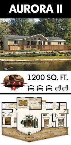 Thoughtfully designed to suit a wide variety of uses, the central living space of the Aurora II features an enormous great room that can accommodate your entire family! #BeaverHomesAndCottages