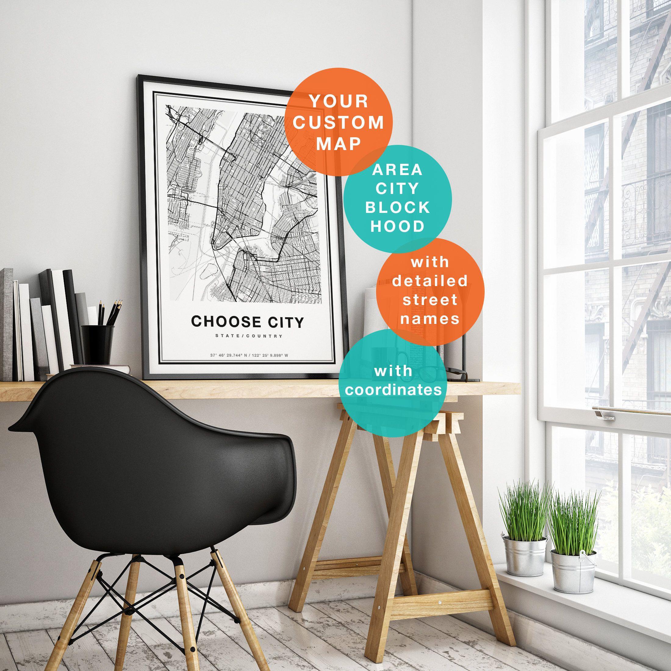 Custom Map Print, Custom City Map Print, Personalized Map